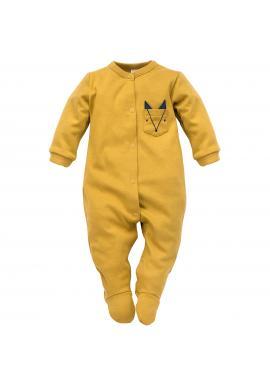 Pohodlný detský overal žltej farby s ozdobným vreckom