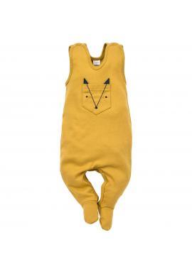 Pohodlné detské dupačky žltej farby s vreckom