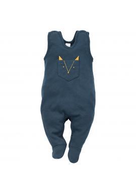 Pohodlné detské dupačky tmavo modrej farby s vreckom