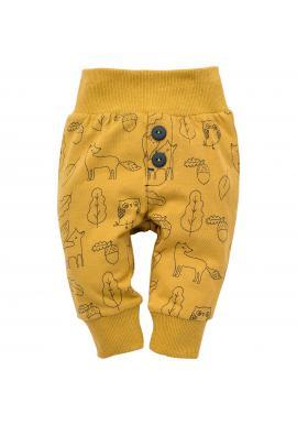 Detské žlté tepláky s motívom lesných zvierat