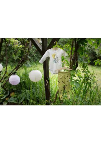 Detské body bielej farby s roztomilou sovičkou