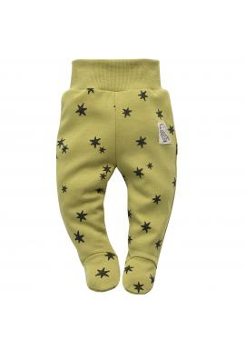 Bavlnené detské polodupačky v zelenej farbe s hviezdičkami