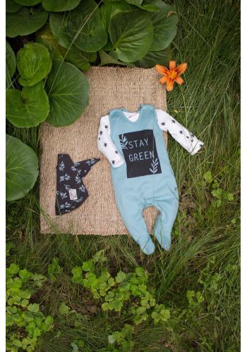 Bavlnené detské dupačky tyrkysovej farby s nápisom