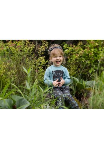 Štýlová detská tyrkysová blúzka s nápisom
