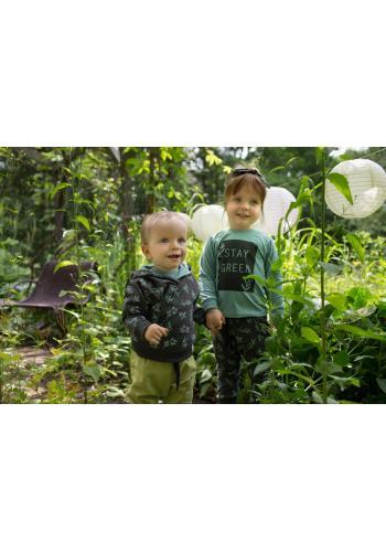 Tmavo sivé detské tepláky s motívom listov