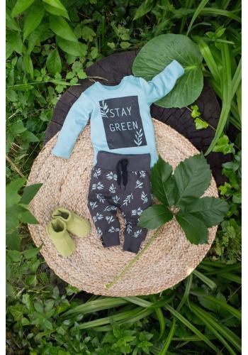 Štýlové detské tepláky tmavo sivej farby s motívom lístkov