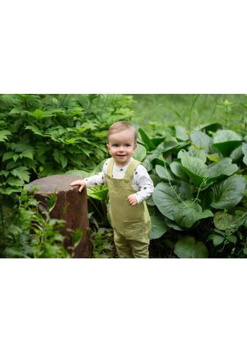 Bavlnené detské nohavice na traky v zelenej farbe