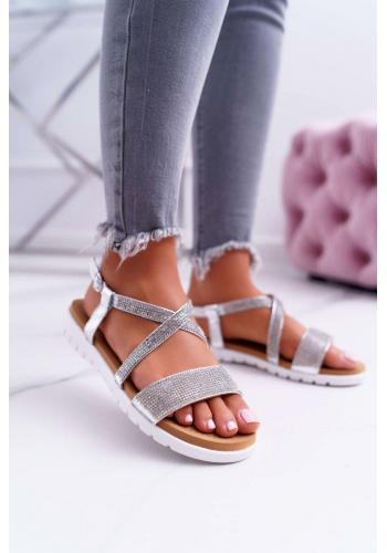 Strieborné módne sandále so zirkónmi pre dámy