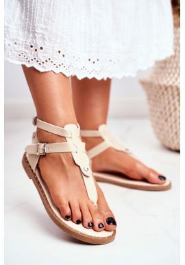 Módne dámske sandále v béžovej farbe