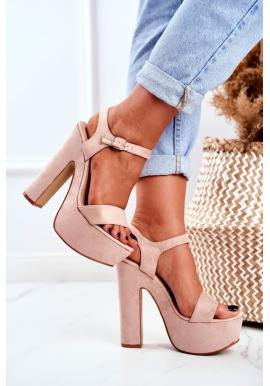 Vysoké dámske ružové sandále na platforme