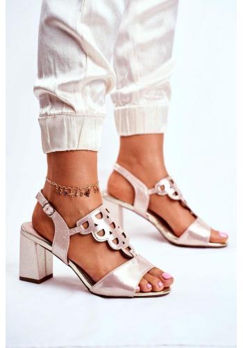 Elegantné dámske zlaté sandále na hrubom podpätku