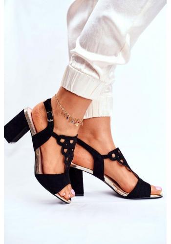 Elegantné dámske čierne sandále na hrubom podpätku