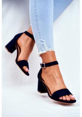 Elegantné dámske semišové sandále na hrubom podpätku čiernej farby