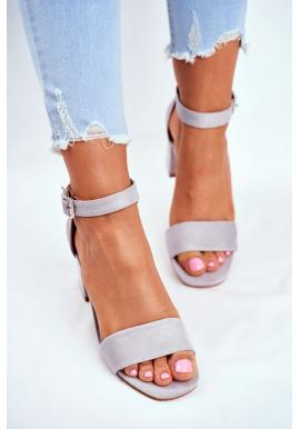 Elegantné dámske semišové sandále na hrubom podpätku v sivej farbe