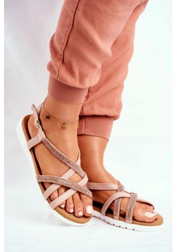 Dámske sandále s kubickými zirkónmi v ružovo-zlatej farbe