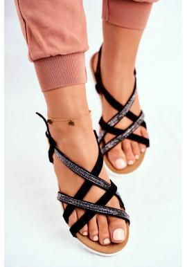 Dámske sandále s kubickými zirkónmi v čiernej farbe