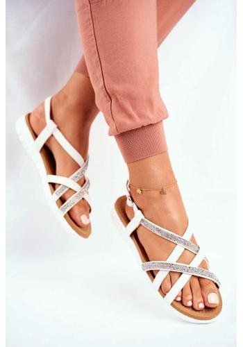 Dámske sandále s kubickými zirkónmi v bielej farbe