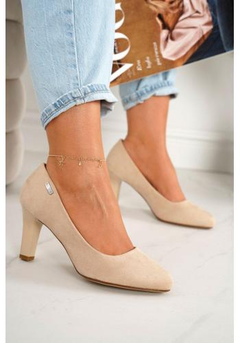 Klasické semišové dámske lodičky na podpätku v béžovej farbe