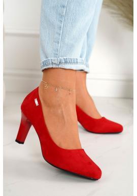 Pohodlné semišové lodičky na podpätku pre dámy v červenej farbe