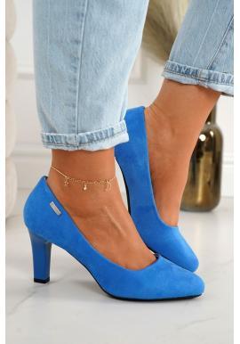 Klasické dámske semišové lodičky na podpätku v modrej farbe