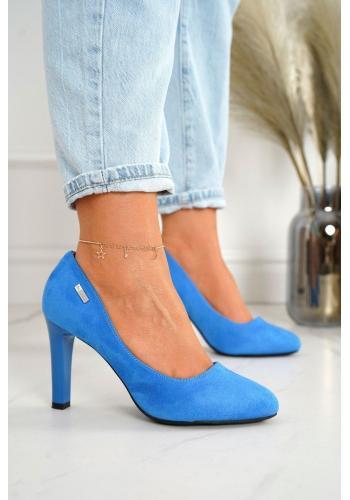 Semišové dámske lodičky na vysokom podpätku v modrej farbe