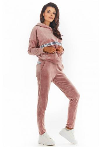 Ružové teplé zamatové tepláky s ozdobným pruhom pre dámy