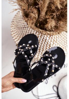 Čierne dámske žabky s ozdobnými kamienkami