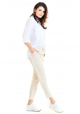 Dámske módne nohavice s kontrastným pásom v béžovej farbe