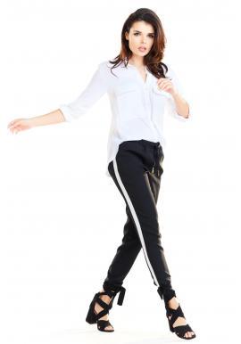 Čierne módne nohavice s kontrastným pásom pre dámy