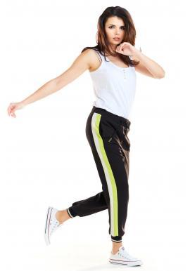 Čierne športové nohavice s limetkovo-bielymi pásmi pre dámy