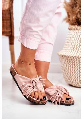 Štýlové ružové dámske šľapky so strapcami na korkovej podrážke