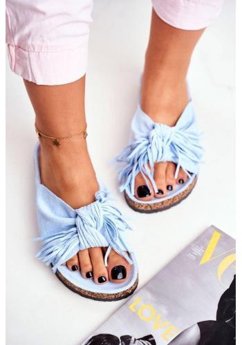 Štýlové modré dámske šľapky so strapcami na korkovej podrážke
