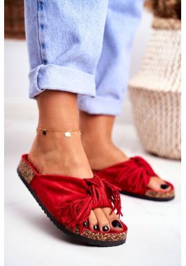 Červené dámske šľapky so strapcami na korkovej podrážke