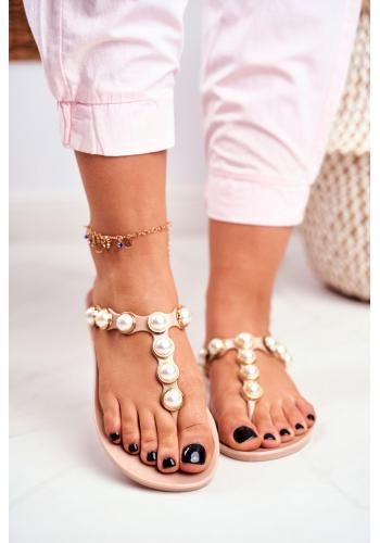 Béžové dámske gumené žabky s ozdobnými perlami