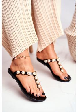 Čierne dámske gumené žabky s ozdobnými perlami