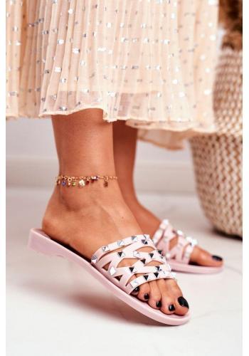 Trendy ružové dámske šľapky s cvočkami