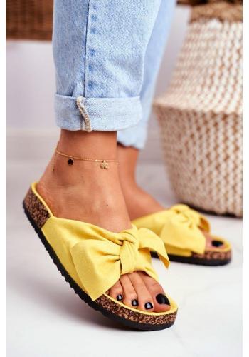 Žlté dámske šľapky s mašľou na korkovej podrážke