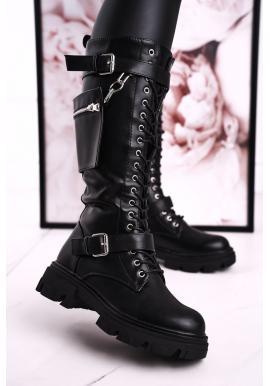 Štýlové dámske kožené topánky s prackami v čiernej farbe
