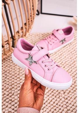 Detské tenisky Big Star na suchý zips v ružovej farbe
