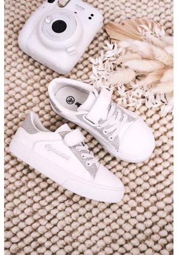 Štýlové dievčenské bielo-strieborné tenisky