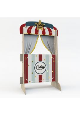 Drevená retro opona pre deti - Popcornový stánok