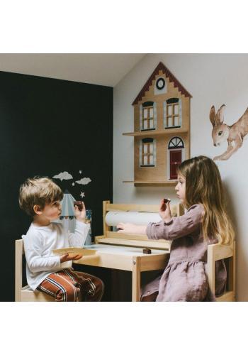 Detská drevená polička v tvare domčeka