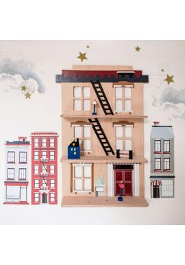 Detská drevená polička v tvare domčeka z New Yorku