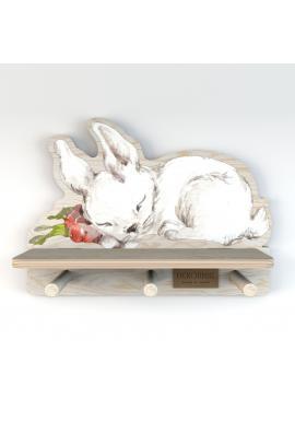 Detská polička s vešiačikmi Spiaci zajačik