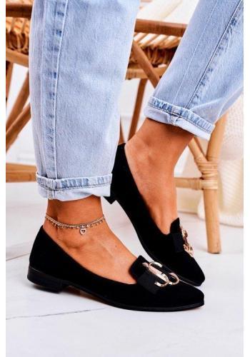 Čierne dámske módne balerínky