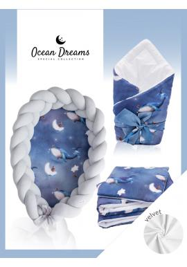 Výbava pre novorodenca 4v1 Velvet - Ocean Dreams/ sivá
