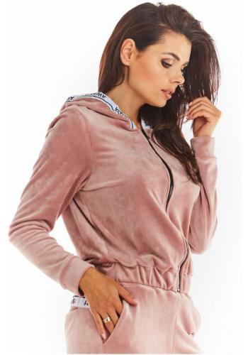 Ružová zamatová mikina na zips pre dámy