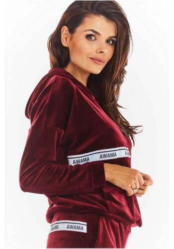 Teplá dámska zamatová mikina bordovej farby s ozdobným pásom