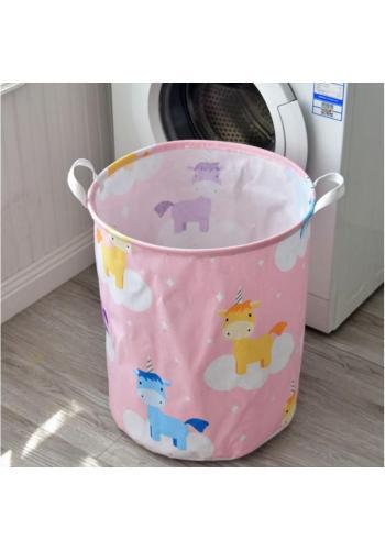 Kôš na hračky alebo bielizeň v ružovej farbe s motívom jednorožcov