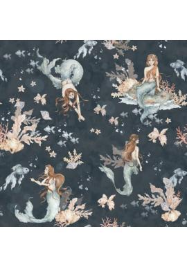 Tmavomodrá tapeta s morskými pannami